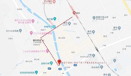 四國自由行搭乘觀光巴士「KOTOBUS IYA VALLEY」琴平車站附近的乘車點「KOTOHIRA TRIP BASE -Kotori-」的示意地圖
