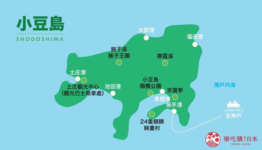 四國「小豆島」推薦觀光一日遊行程示意地圖