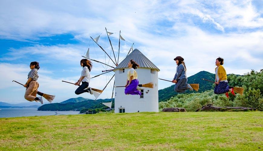 四國「小豆島」必去景點「小豆島橄欖公園」大家模仿「魔女宅急便」的照片