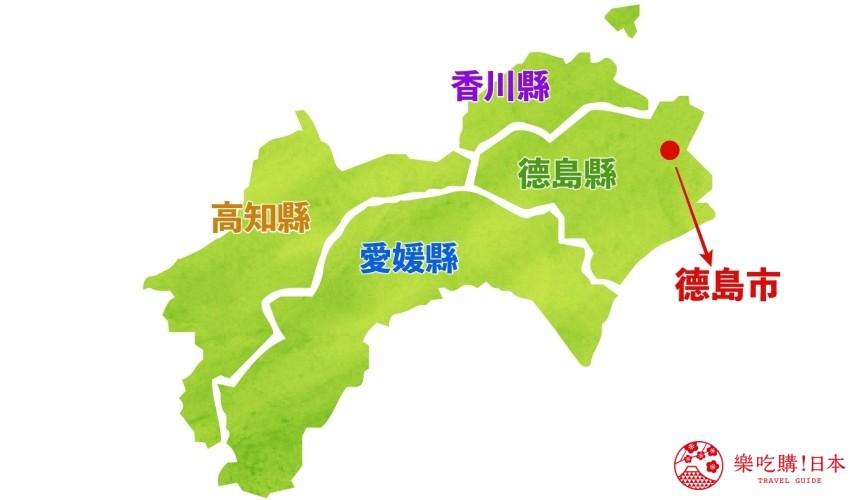 日本德島市位在四國的地理位置地圖
