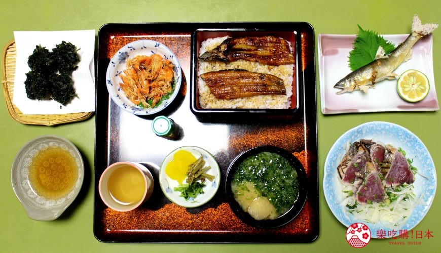高知市美食必吃推薦四萬十川產河蝦鮮魚套餐
