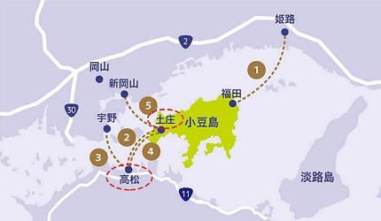 四国必去景点「小豆岛」可搭乘四国邮轮(四国フェリー)的路缐图
