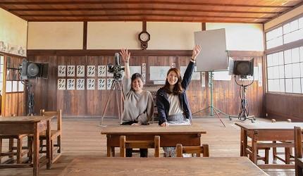 四国「小豆岛」必去景点「二十四只眼睛映画村」里的电影场景教室