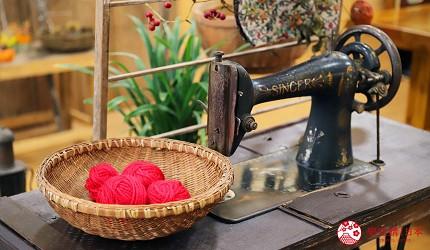 日本高知閨蜜旅行推薦推介美肌溫泉超舒服日版北川村莫內花園絕美花景打卡必到私房景點的農家食堂內的縫紉機以及毛線擺設